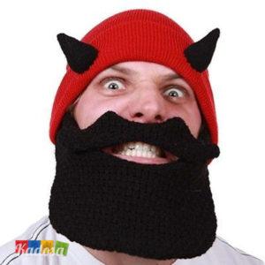 Berretto barba DEVIL diavoletto corna diavolo beardhead staccabile inerno caldo idea regalo diavolo carnevale snow snowboard sci lana acrilico originale 2