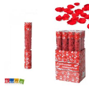 Cannone Spara Petali Rossi 30cm tubo coriandoli sintetici rosa matrimonio wedding anniversario love amore san valentino party laurea- Kadosa
