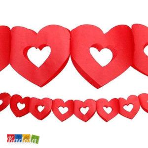Ghirlanda cuori rossi GRB6 carta banner festa cuore love san valentino anniversario matrimonio romantico - Kadosa