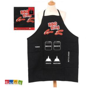 Grembiule cucina BBQ King re chef grigliata barbecue griglia tasce porta salse attrezzi pasquetta ferragosto idea regalo 11330B - kadosa