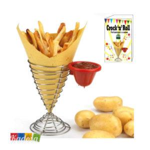 Cono Porta patatine fritte Mai Uguali originale idea regalo porta salse ketchup metallo dispenser contenitore fritto servi vassoio - Kadosa