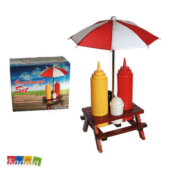 SET Dispenser Salse bbq maionese maio mayo katchup sale e pepe ombrellino pic nic picnic festa grigliata amici compleanno idea regalo - Kadosa