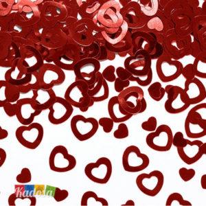 Coriandoli Cuore Rosso ad Effetto Metallico Molto Scenografici e Romantici coriandoli a cuore KONS11 confetti san valentino centrotavola cuoricini cuori heart love amore allestimento decorazioni - Kadosa