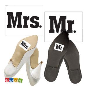 Adesivi Scarpe Mr e Mrs per Sorprendere gli Ospiti - Kadosa