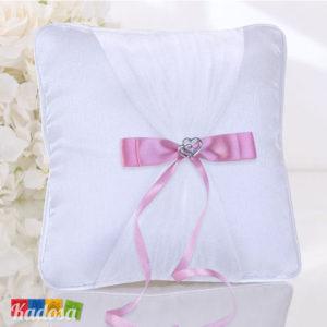 Cuscino Porta Fedi Bianco con Cuori e Fiocco Rosa - Kadosa