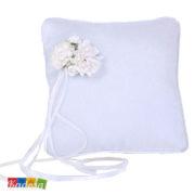 Cuscino Porta Fedi Bianco con Decorazione Floreale Bianca - PKWM3 - Kadosa