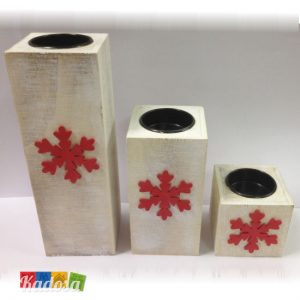 Porta Tea Light Natalizi con Decorazione Fiocco di Neve Set 3 pz - Kadosa