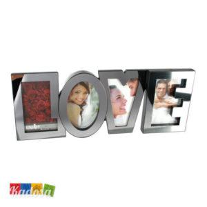 Portafoto LOVE in Acciaio Satinato per Contenere 4 Foto - Kadosa