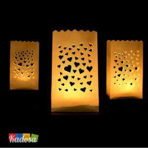 Lanterne Luminose Cuori di Carta 11,5 x 19 cm set 10 pz - Kadosa
