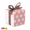 Box Porta Confetti Rosa Pois Bianchi con Nastro Marrone - Kadosa PUDP17