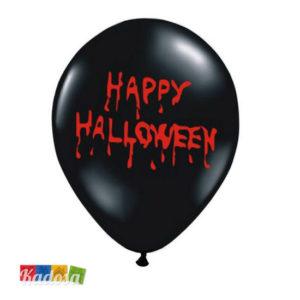 Palloncini Halloween Neri Scritta Happy Halloween Rossa - Kadosa