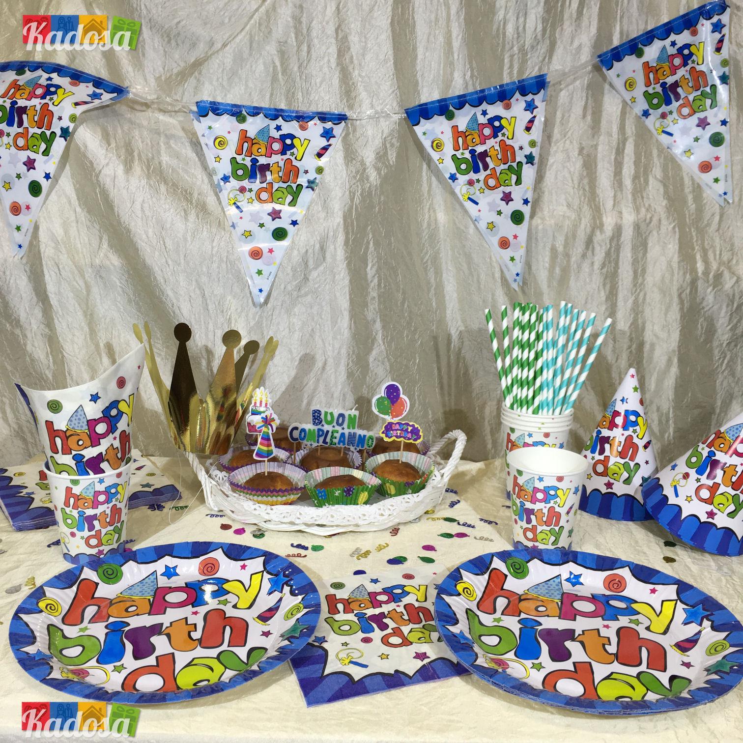 Set 6 Piatti Happy Birthday Compleanno Festa in scatola Birthday