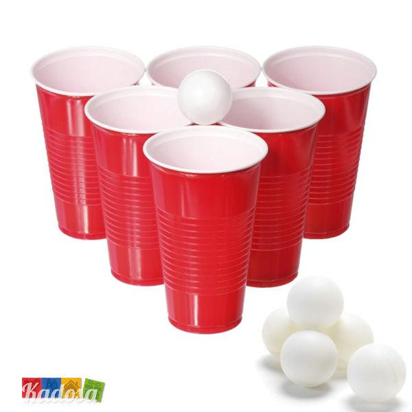 Beer pong con 22 bicchieri grandi da 550 ml e 15 palline - Porta bicchieri birra ...