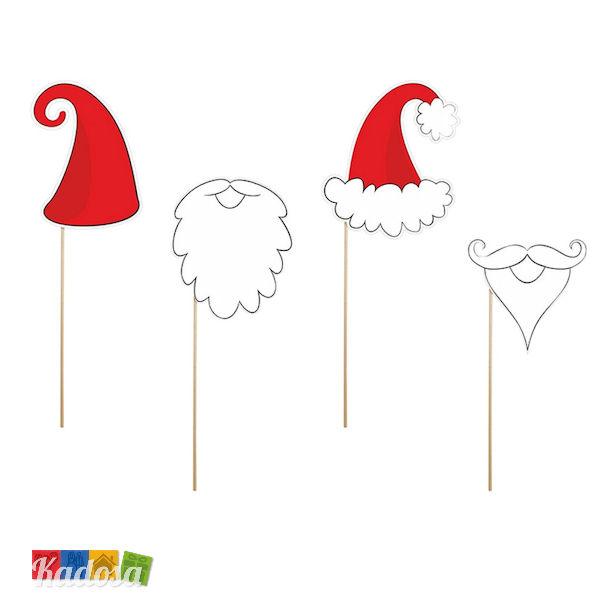 Accessori Natale.Accessori Photobooth Natale Set 4 Pz Con Bastoncini In Legno Kadosa