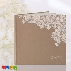 Guest Book Matrimonio Country Avana con Decorazione Bianca - Kadosa