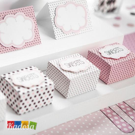 Box porta confetti sweets a pois con nuvoletta set 6 pz - Scatole porta viti ...