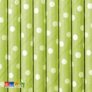 Cannucce Carta Verde Lime Pois Bianchi Set 10pz - Kadosa