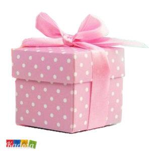 Scatola Box Porta Confetti Rosa Pois - Kadosa