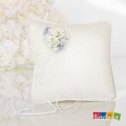 Cuscino Porta Fedi Bianco con Decorazione Floreale - Kadosa