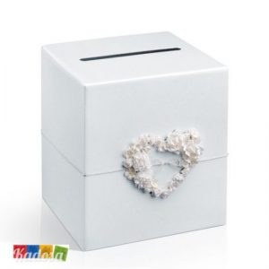 Wedding Card Box Bianca Decorazione Floreale a Cuore Gift Box Matrimonio - Kadosa