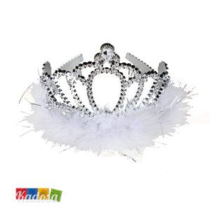 tiara argento con piume bianche - kadosa