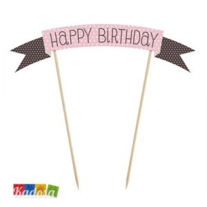 Cake Topper Happy Birthday Rosa Choco Sweets - Kadosa