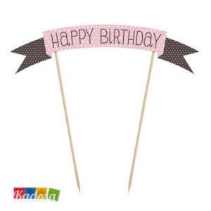 Cake Topper Happy Birthday Rosa Choco Sweets - Kadosa