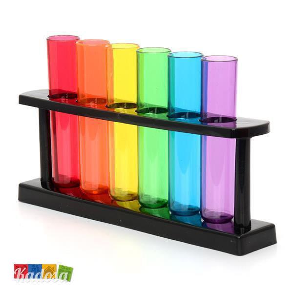 Bicchierini Provetta in Plastica Colorata con Supporto - Kadosa