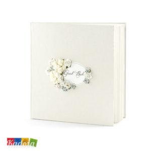 Guest Book Matrimonio Avorio Perlato con Fiori Centrali - Kadosa