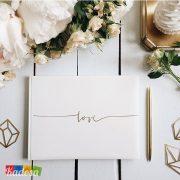 Guest Book Matrimonio Bianco Scritta LOVE Oro - Kadosa