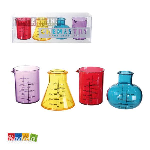 Bicchierini Provetta Chimica Colorata Set 4 pz - Kadosa