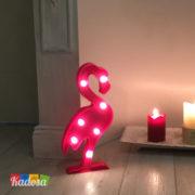 Luce da Tavolo Fenicottero Rosa con 7 Punti Luce a Led Bianchi - Kadosa