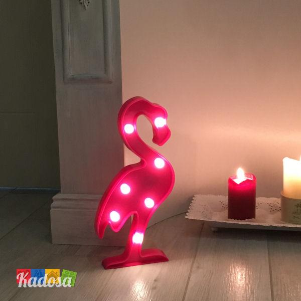 Luce da tavolo fenicottero rosa con 7 punti luce a led bianchi kadosa for Luce da tavolo