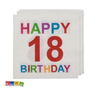 Tovaglioli 18 Anni Happy Birthday Colorati e Divertenti - Kadosa