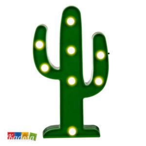 Luce da Tavolo Cactus Verde con 8 Punti Luce a Led Bianchi - Kadosa