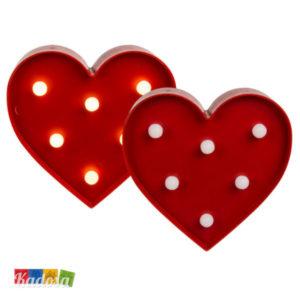 Luce da Tavolo Cuore Rosso con 6 Punti Luce a Led Bianchi - Kadosa