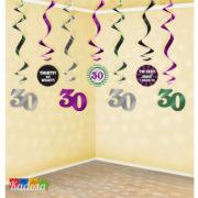 Ghirlanda 30 Anni con Spirale da Appendere Set 7 pz - Kadosa