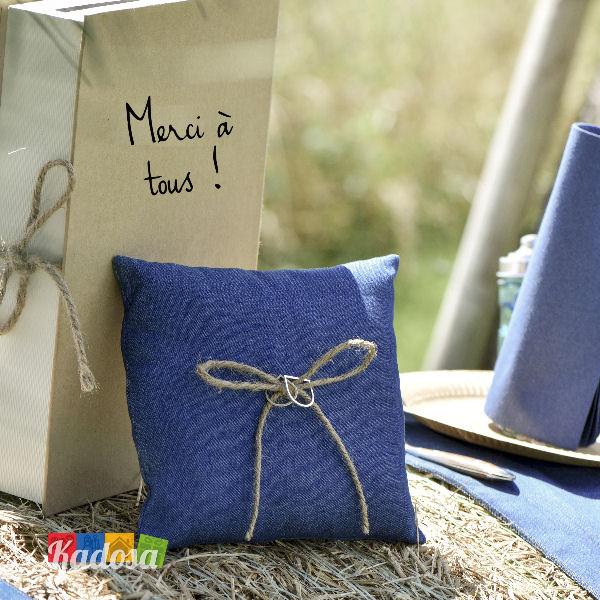 Cuscino Porta Fedi Blue Jeans Stile Country Naturale Kadosa