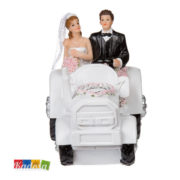 Topper Nozze Sposi Trattore Bianco con Rose per Matrimonio - Kadosa