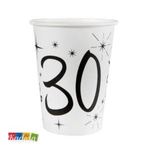 Bicchieri di carta Party 30 Anni con Grande stampa Nera - Kadosa