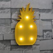 Luce da Tavolo Ananas Giallo con 5 Punti Luce a Led Bianchi - Kadosa