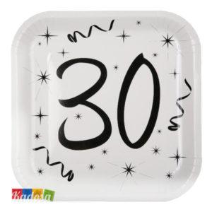 Piatti 30 Anni Elegant Quadrati Bianchi con Grande stampa Nera - Kadosa