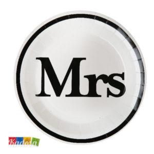 Piatti di Carta Mrs Bianchi con Stampa Nera Set 10 pz - Kadosa