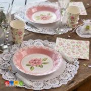 Bicchieri di carta Decorazione Rose Rosa Stile Liberty Set 10 pz - Kadosa