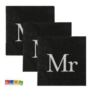 Tovaglioli di Carta Mr Neri con Stampa Bianca Set 20 pz - Kadosa