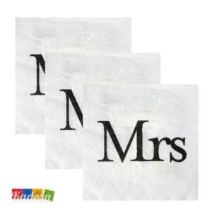Tovaglioli di Carta Mrs Bianchi con Stampa Nera Set 20 pz - Kadosa
