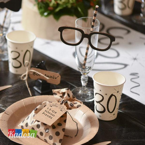 Estremamente Piatti di carta Party 30 Anni con Grande stampa Nera - Kadosa XL79