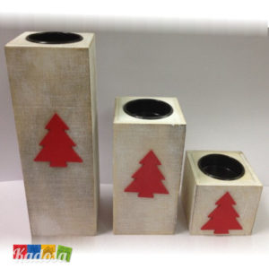 Porta Tea Light Natalizi con Decorazione Abete Set 3 pz - Kadosa