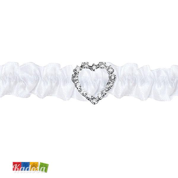 Giarrettiera Sposa Cuore Diamond in Morbido Satin Elasticizzato - Kadosa