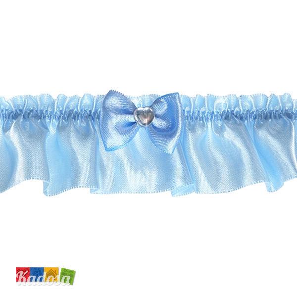 Giarrettiera Satin Azzurra con Fiocco e Strass a Cuore per una Sposa  Romantica - Kadosa 93b21c55e861